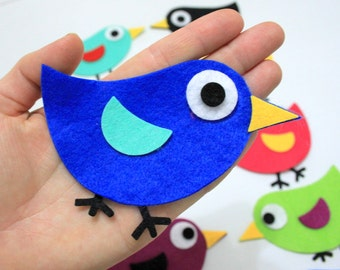 70 Pieces Die Cut Felt Winged Comic Bird For Easter DIY Kits, Spring Themes