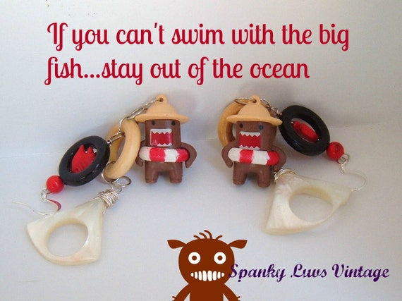Domo earrings Swimming with the big fish one of a kind danglers