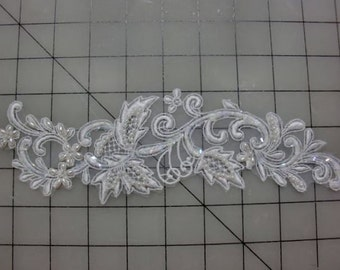 Lace Applique Bead and Sequin Embroidered Lace for Wedding Veils or Head Piece