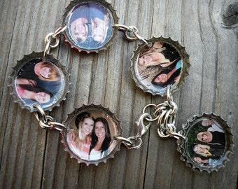 5 Charm Custom Photo Bottle Cap Linked Bracelet