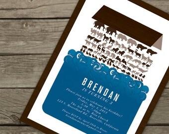 Noah's Ark Invitation, Modern, for Birthday, Baby Shower, Baptism, Christening