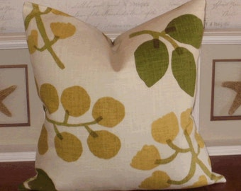 SALE! Decorative Pillow Cover: Richloom Lola 18 X 18 Linen Blend Accent throw Pillow Cover in Ginko