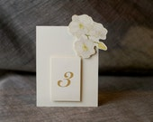 White Orchid  Table Number Tents - for Events, Weddings, Parties, Showers, Graduations.