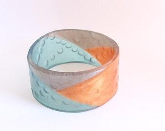 Large bangle , blue bangle , silver bangle , bronze bangle , resin bangle , XXL , plus size jewelry, science jewelry  , double helix