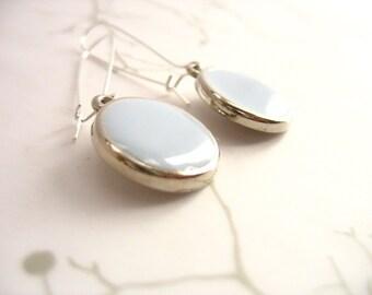 Duck Egg Blue Resin Earrings Jewelry , Round Silver Disc Dangle Earrings , Womens Resin Jewelry , Everyday Earrings , Elegant Blue Earrings