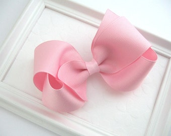 """Light Pink Hair Bow for Girls ~ Toddler Boutique Bow ~ 4"""" Pastel Pink Hair Bow ~ Pink Hair Bow ~ Hair Bows for Girls"""