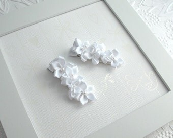 White Bridal Hair Clips, Flower Girl Accessories, White Satin Flower Hair Clippies for First Communion, Weddings by Pink Lemonade Duxbury