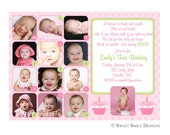 Photo 1st Birthday Invitation First Green Pink - 12 months picture, 1 year  Printable Digital File Custom Cupcake