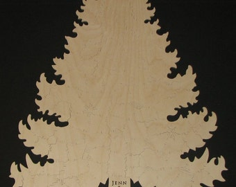 75 pc PINE TREE Puzzle Guest Book - Hand Cut wooden Jigsaw Puzzle - winter wedding memento