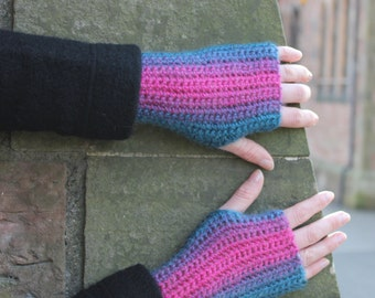 FINGERLESS GLOVES, funky and colourful crochet mittens, gift guide, knitwear UK