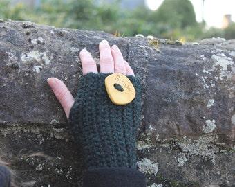 Fingerless gloves - smile mittens in deep green