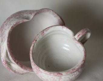 2 Spongeware Pink Heart Bowls Country Bowls Handmade Ceramic with Handles
