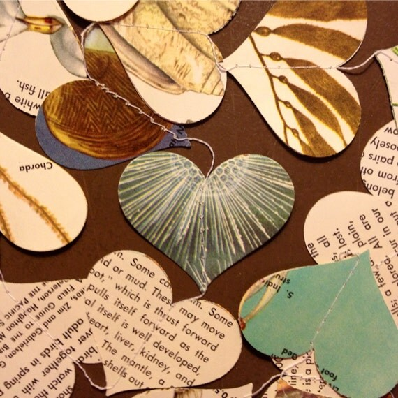 Seashores - Paper Heart Garland - Repurposed Vintage Field Guide Pages - Classroom Decoration - Handmade Party Supplies