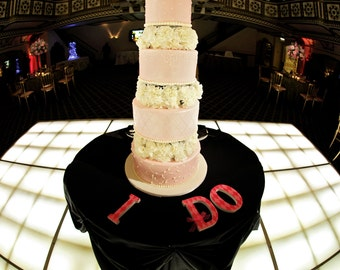 WEDDING Wooden Letters - I DO - Set of 3 - Your Choice of Colors