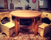 Round oak table with two storage chair's heartwood natural toys