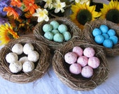 40 Bird's Nest Seed bomb favors- eggs are plantable paper seed balls- custom colors available