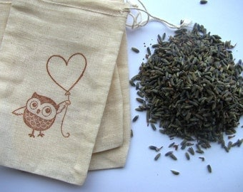 25 LAVENDER FILLED 'Owl with Heart Balloon' stamped muslin drawstring bags
