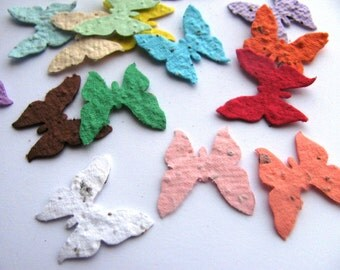 100 Plantable confetti BUTTERFLIES- choose from 16 colors- Wildflower blend