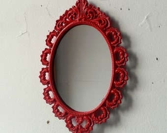 Small Oval Mirror in Ornate Vintage Frame, Lipstick Red Hand Painted Wall Mirror, Retro Kitchen, Mid Century Modern Vintage