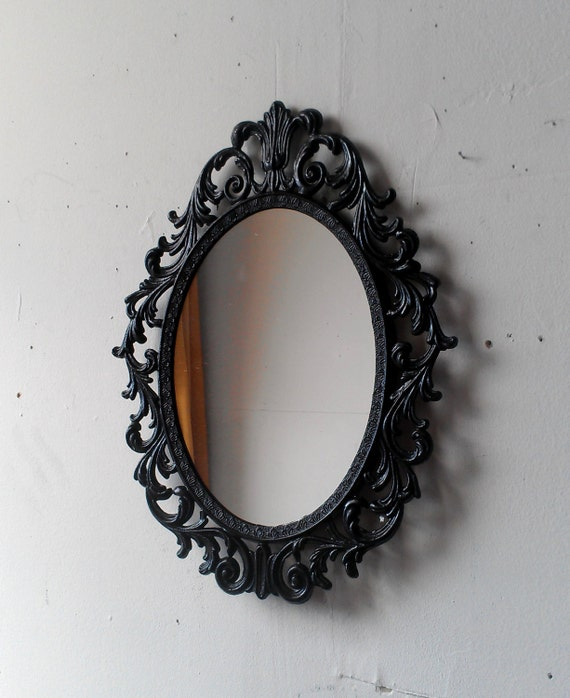 Princess Mirror - Ornate Vintage Frame in Glossy Black - 13 by 10 inches