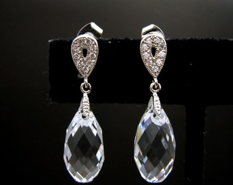 wedding bridal white gold teardrop cubic post earrings with clear white swarovski crystal - Free US shipping