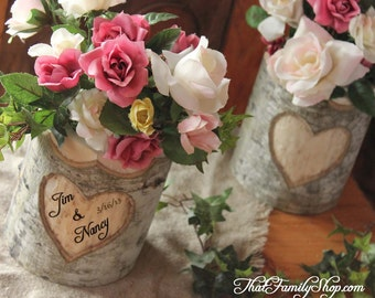 Rustic Wedding Log Flower Vase With YOUR Names/date Personalized into Debarked Hearts