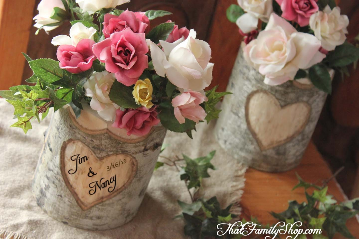 Rustic wedding log flower vase with your by thatfamilyshop