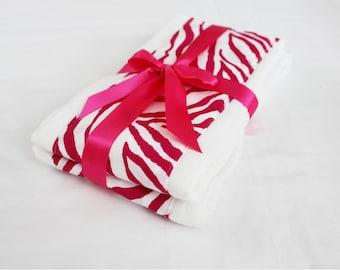 Hot Pink Zebra Burp Cloths - Set of 2