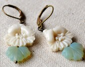 Vintage stacked flower and leaf bead earrings.... An Eternity in April....