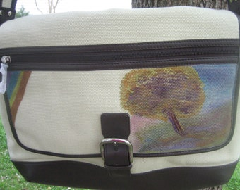 Levenger Messenger - Handpainted Abstract Tree Scene-NEW Cream Canvas Brown Leather Trim Bag