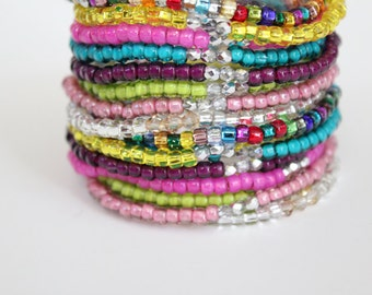 Beaded Bracelets - Candy Colored Stacking Bracelets - Festival Bracelets