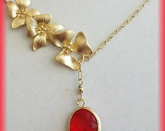 Ruby red NECKLACE, Lariat, red Necklace, red jewelry, red Wedding, Bridal, Christmas, Valentine gift