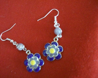 Enamal flower earrings in bright colors