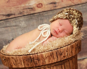 Naturally Cute Bonnet, bulky, crochet, newborn, photo prop, winter, summer, warm, stylish, fun
