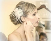 Ivory Fascinator,Wedding Head Piece,Ivory Feather Hair Clip, Ivory Bridal Comb,Bridal Hair Accessory,Ivory Hair Clip,Feather Hair Clip
