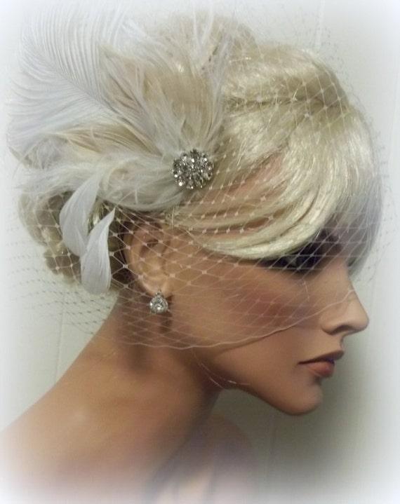 Wedding Fascinator Ivory Bridal Hair Clip French Net Bridal