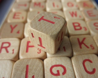 75 rare vintage wood Scrabble dice - letter dice, red letters, 1960s
