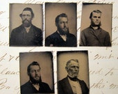 RESERVED for sabine - 5 miniature tintype photos - men with BEARDS - late 1800s - BD3
