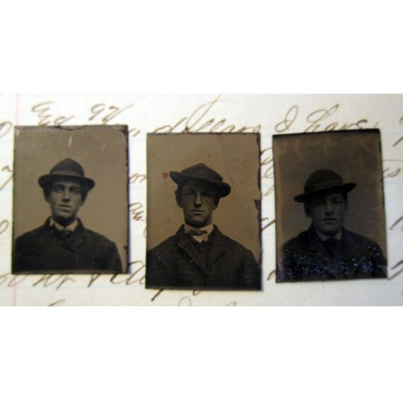 SALE - 3 miniature gem tintype photos - men in HATS - late 1800s, MH8