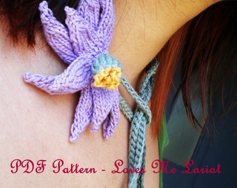PDF Pattern Knit Daisy Flower Necklace - Loves Me Lariat