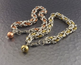 Byzantine Chain Maille Bracelet with either Copper or Brass - Free Bracelet Fastener Tool Included