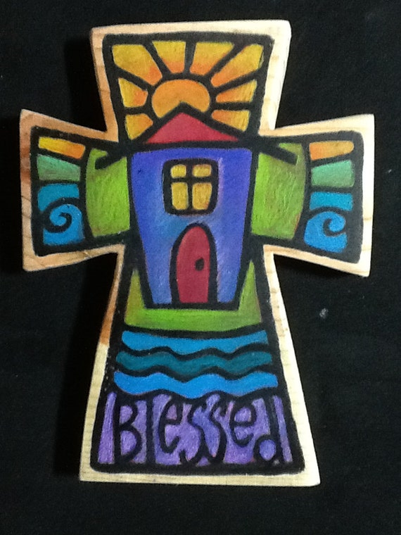 Blessed painted wall cross house warming gift
