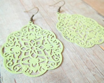 B L O O M - Spring Mint Green Swirl Lace, Hand Painted Metal Filigree, Antique Bronze Dangle Earrings