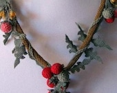 Nature Inspired Cherry Tomatoes Necklace With Green Leaves-Free Shipping