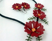 Red Flower Necklace and  Earrings Set,Crochet Necklace,Red Jewelry, Red Flower Necklace,Dark Red Necklace,Earring, Red Bib,Crochet Flower,
