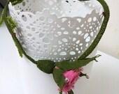 Pink  Rose Necklace,  Pink Rose Pendant ,Crochet Necklace, Rose Necklace,Statement Necklace,Rose bib
