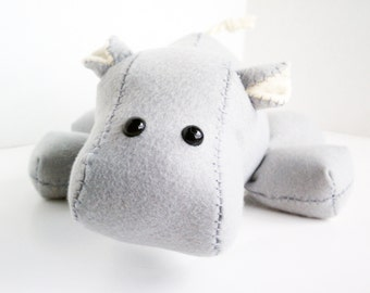 Hippo stuffed animal- Light grey/gray and cream