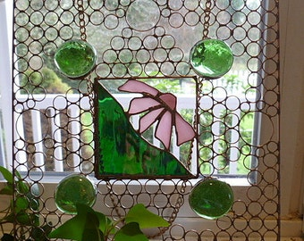 Square Wire Art Panel with Green Gems and Pink Flower Handmade One of a Kind Window Treatment Sun Catcher House Warming Gift, Unique Gift