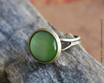 Sale - Guardian - Green CatsEye Cabochon Antique Bronze Adjustable Ring