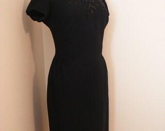 50s Vintage Rockabilly Black Wiggle Dress / Red Floral Beaded Evening Pin Up Dress / Mad Men Dita Von Teese Cocktail Dress